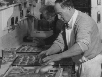 Pre 1980s. Albert Ashfield Fress. Bakery in Church Street .He also ran a catering business. He baked 500 600 loaves a day and made deliveries to other villages.