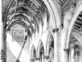 Old picture of interior of Parish church, note Royal coat of arms which was above the tower door.